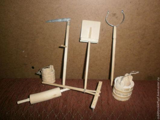 Миниатюра ручной работы. Ярмарка Мастеров - ручная работа. Купить деревянные лопаты, грабли, косы, ухваты. Handmade. Белый, ухваты