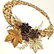 Украшения handmade. Livemaster - original item Coffee Brown Etude. Necklace and brooch made of genuine leather. Handmade.
