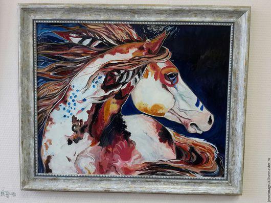 Животные ручной работы. Ярмарка Мастеров - ручная работа. Купить Боевой конь. Handmade. Рыжий, Витражная роспись, картина в гостиную