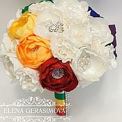 Свадебный салон ручной работы. Ярмарка Мастеров - ручная работа Брошь букет невесты ПИОНОВЫЙ радужный. Handmade.