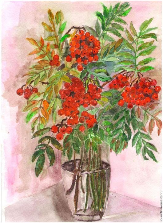 """Натюрморт ручной работы. Ярмарка Мастеров - ручная работа. Купить Авторская картина """"Рябинка"""". Handmade. Ярко-красный, листья резные"""
