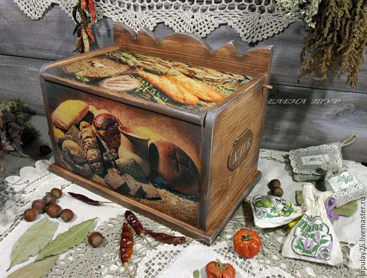 """Кухня ручной работы. Ярмарка Мастеров - ручная работа. Купить """"Хлеб всему голова"""" хлебница сосна. Handmade. Коричневый, для кухни"""