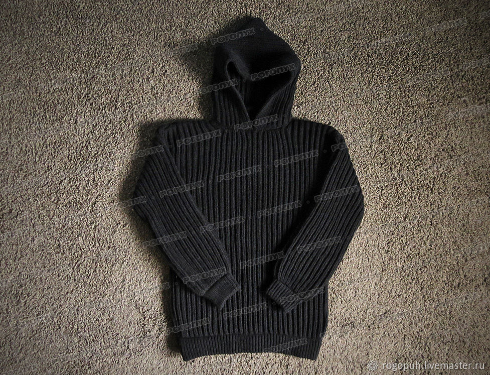 Knitted sweater with hood, black (No. №503), Mens sweaters, Nalchik,  Фото №1
