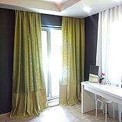 Для дома и интерьера handmade. Livemaster - original item Mustard curtains with a geometric print. Handmade.