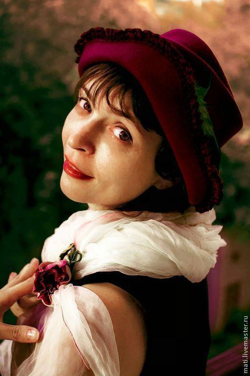 """Шляпы ручной работы. Ярмарка Мастеров - ручная работа. Купить шляпа """" Роза"""". Handmade. Бордовый, фантазийный цветок"""