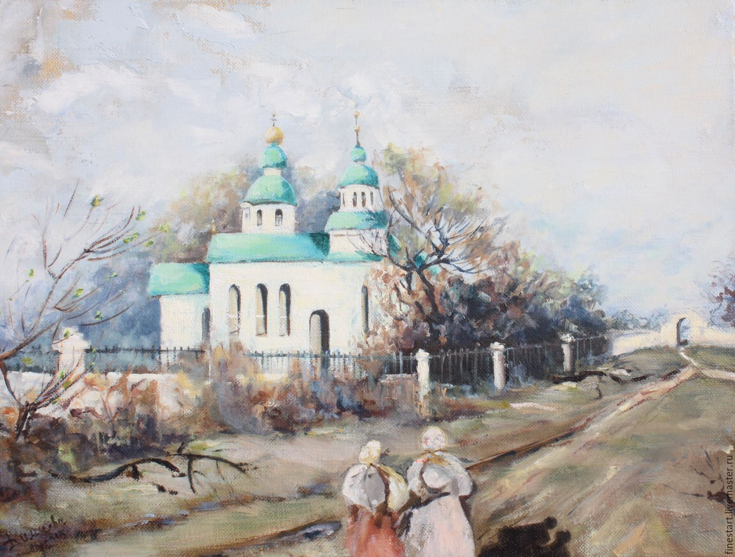 Oil painting landscape oil Painting Spring in sredneye. Oil painting Buy oil painting