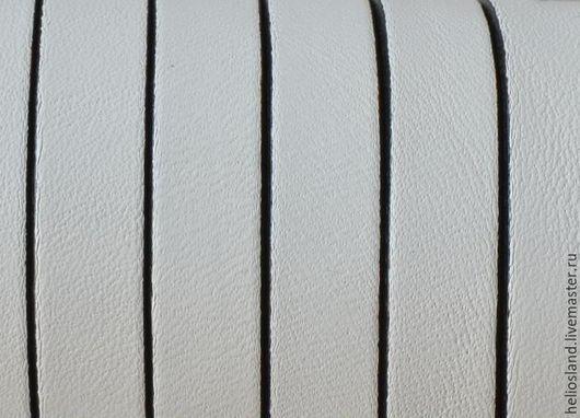 Для украшений ручной работы. Ярмарка Мастеров - ручная работа. Купить Кожаный шнур плоский 10 мм белый с черной окантовкой. Handmade.