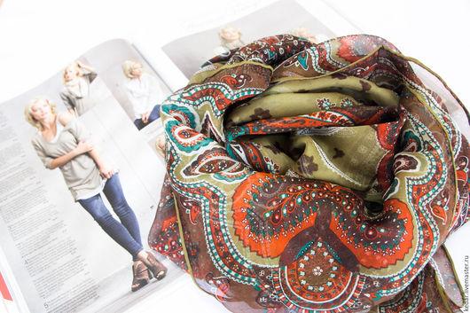"""Шали, палантины ручной работы. Ярмарка Мастеров - ручная работа. Купить Шёлковый платок из ткани ETRO """"Индия"""" оливковый. Handmade."""