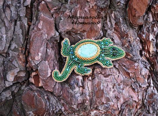 """Броши ручной работы. Ярмарка Мастеров - ручная работа. Купить Брошь """"Бирюзовая ящерка"""". Handmade. Зеленый, изумрудная ящерка"""