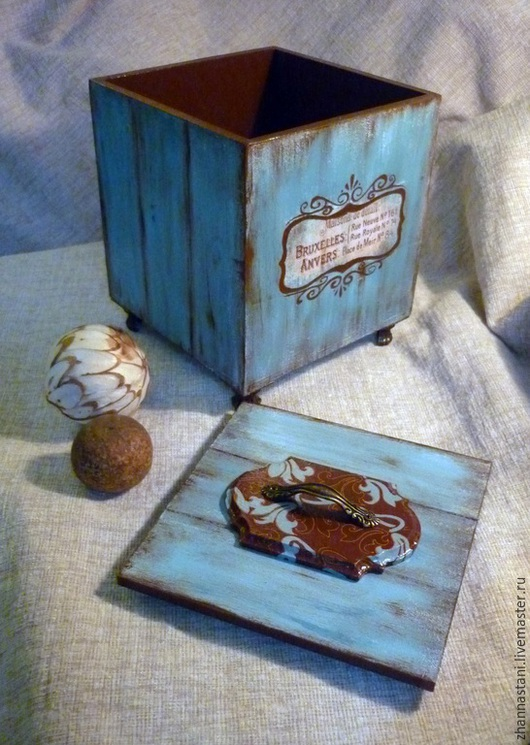 Кухня ручной работы. Ярмарка Мастеров - ручная работа. Купить Короб для хранения. Handmade. Разноцветный, коробка для мелочей, акриловые краски