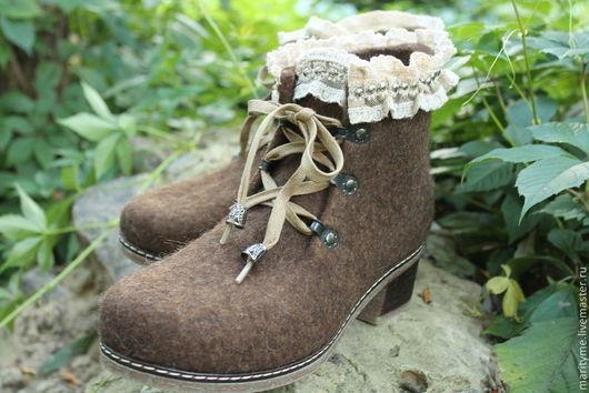 """Обувь ручной работы. Ярмарка Мастеров - ручная работа. Купить Валяные ботинки """"Boho Style"""". Handmade. Коричневый, Валяные ботинки"""