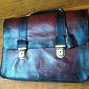 Сумки и аксессуары handmade. Livemaster - original item Natural vegetable-tanned leather briefcase.. Handmade.