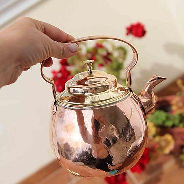 """Посуда ручной работы. Ярмарка Мастеров - ручная работа Чайники: Превосходный комбинированный чайник """"Латунь-медь"""". Handmade."""