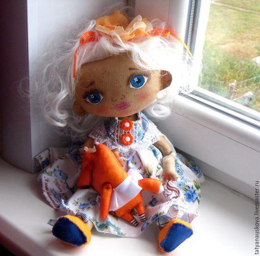 Ароматизированные куклы ручной работы. Ярмарка Мастеров - ручная работа. Купить Девочка и лисенок. Handmade. Рыжий, акрил для ткани