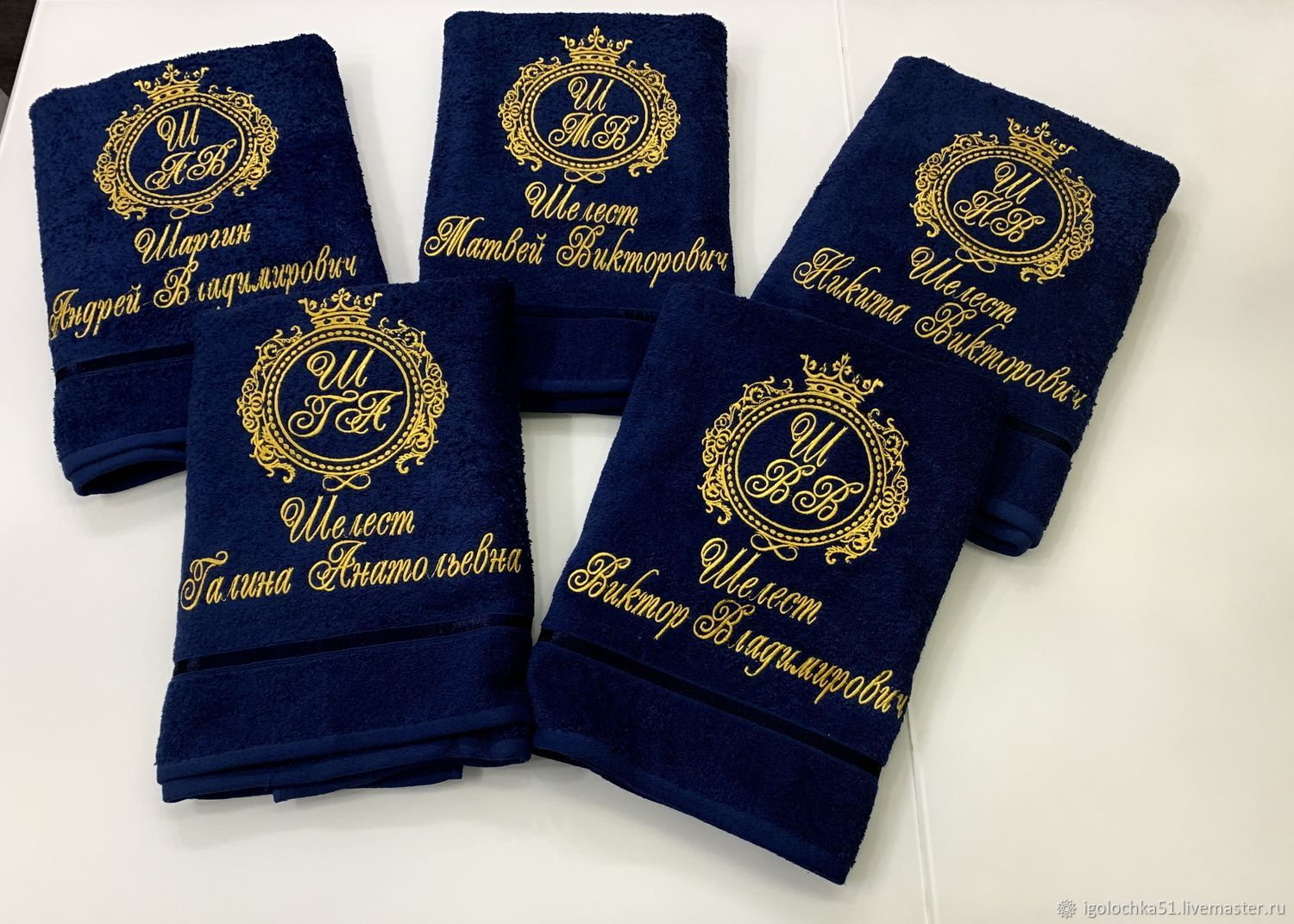 Terry towels embroidered with the name, Towels, Murmansk,  Фото №1