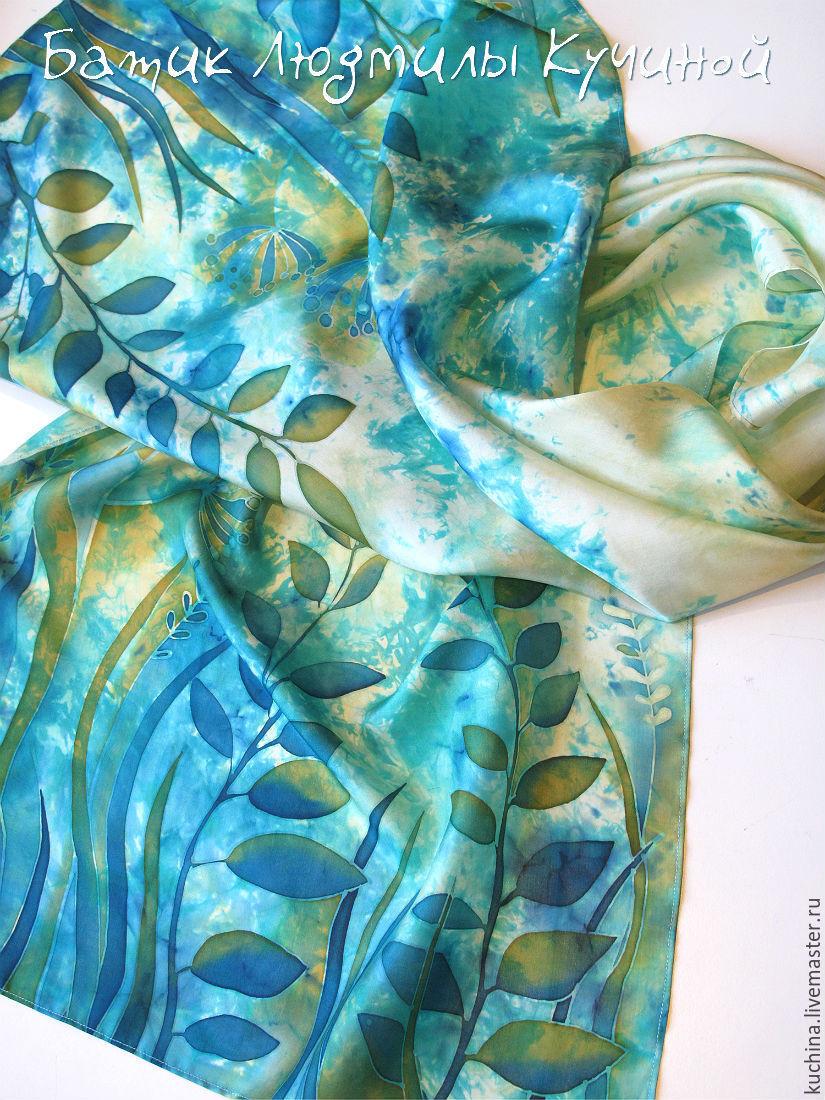 batik scarf 'Mermaid grass' silk, Scarves, St. Petersburg,  Фото №1