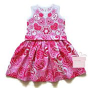 Работы для детей, handmade. Livemaster - original item Cotton dress for girl Pink lollipops))). Handmade.