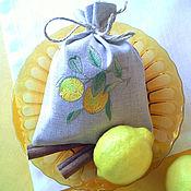 """Для дома и интерьера ручной работы. Ярмарка Мастеров - ручная работа Льняной мешочек """"Лимоны"""". Handmade."""