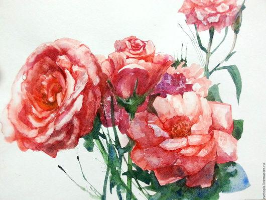 """Картины цветов ручной работы. Ярмарка Мастеров - ручная работа. Купить Картина акварелью """"Нежные цветы"""". Handmade. Розовый"""