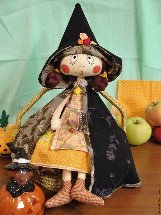 Куклы тыквоголовки ручной работы. Ярмарка Мастеров - ручная работа. Купить Осенняя ведьмочка - хозяйка Хэллоуина. Handmade. Комбинированный