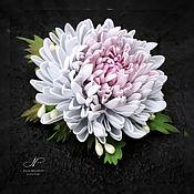 """Украшения handmade. Livemaster - original item Брошь - цветок из фоамирана  """"Розовая хризантема"""". Handmade."""