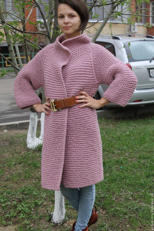 крупной вязанные вязкой пальто