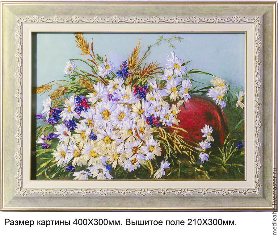 The picture is embroidered with ribbons and satin stitch option 2, Pictures, Moscow,  Фото №1