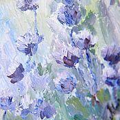 """Картины и панно ручной работы. Ярмарка Мастеров - ручная работа Картина маслом """"Поле с голубыми цветами"""". Handmade."""