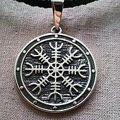 """Фен-шуй и эзотерика handmade. Livemaster - original item Silver amulet """"Aegishjelm on shield"""". Handmade."""