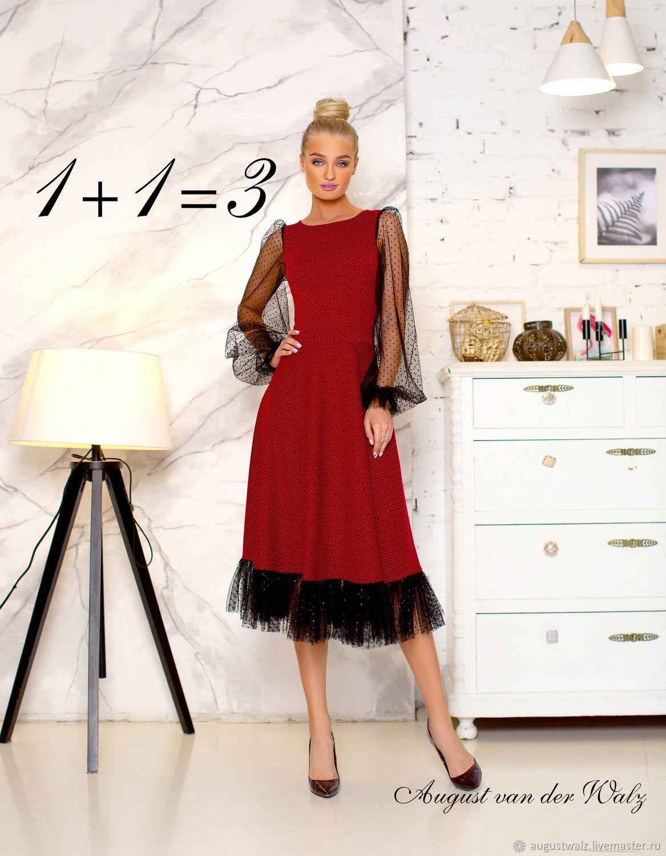 Платье в миди длине, отделка веснушками.  Офисное платье, Платья, Санкт-Петербург, Фото №1