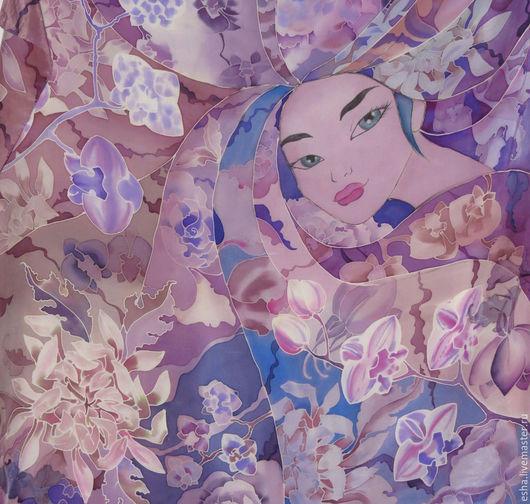"""Шали, палантины ручной работы. Ярмарка Мастеров - ручная работа. Купить Шелковый платок батик """"Принцесса Орхидея"""", ручная роспись. Handmade."""