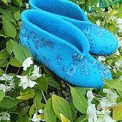 """Обувь ручной работы. Ярмарка Мастеров - ручная работа Тапочки """"Голубой орнамент"""". Handmade."""