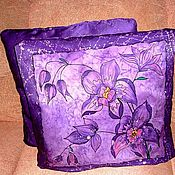 Pillow handmade. Livemaster - original item Pillowcases silk batik lilac purple with painting. Handmade.