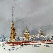 Картины и панно handmade. Livemaster - original item Watercolor painting Snow Petersburg (city landscape). Handmade.