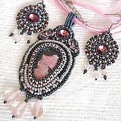 Украшения handmade. Livemaster - original item Jewelry set pendant and earrings with rhodonite and Swarovski Ashes of roses. Handmade.