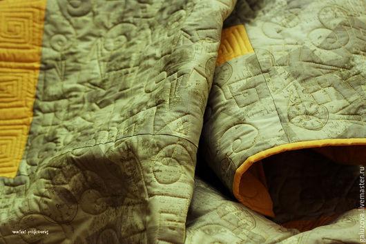 """Текстиль, ковры ручной работы. Ярмарка Мастеров - ручная работа. Купить Лоскутный плед """"Модерн"""". Handmade. Оливковый, лоскутное покрывало"""