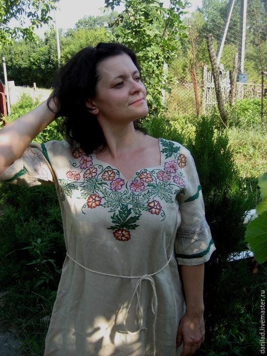 """Платья ручной работы. Ярмарка Мастеров - ручная работа. Купить Платье""""Изобилие"""". Handmade. Платье, платье льняное, платье с росписью"""