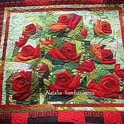 """Картины и панно ручной работы. Ярмарка Мастеров - ручная работа Лоскутная, интерьерная картина. """"Ах, какая заноза моя красная роза"""". Handmade."""