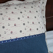 "Для дома и интерьера handmade. Livemaster - original item Linen decorative pillow ""Sea Surf"". Handmade."