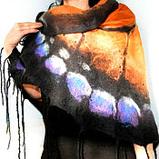 Шаль валяная, натуральная шерсть, натуральный шелк Бабочка-Данаида