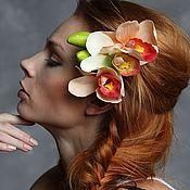 Украшения ручной работы. Ярмарка Мастеров - ручная работа Гребень Дикая орхидея персиковая с зелёной. Handmade.