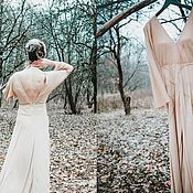 Одежда ручной работы. Ярмарка Мастеров - ручная работа Платье бежевое с открытой спиной. Handmade.