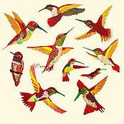 Материалы для творчества handmade. Livemaster - original item Embroidery applique red birds hummingbird patch stripe on clothes. Handmade.
