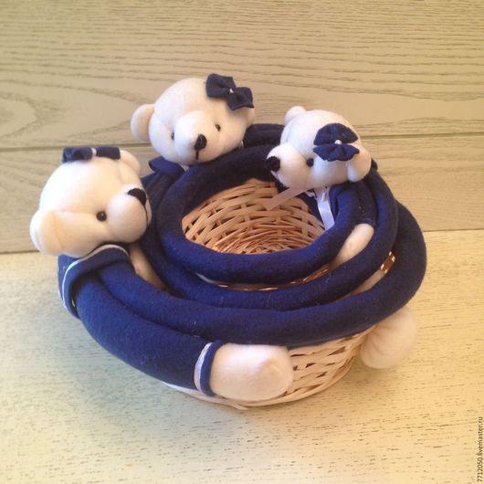 синяя корзина для творчества плетеная корзина с игрушкой Мишка купить корзину темно-синий цвет