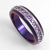 handmade. Livemaster - original item Purple Titanium ring with amethysts. Handmade.