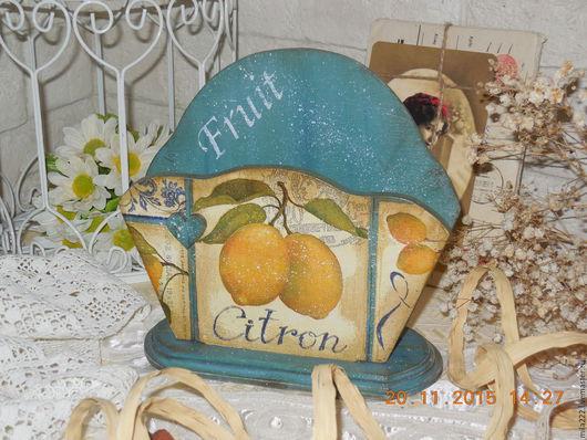 """Кухня ручной работы. Ярмарка Мастеров - ручная работа. Купить """"Лимонная пастила"""" салфетница. Handmade. Синий, заготовка из фанеры"""