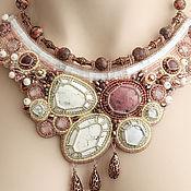 Украшения handmade. Livemaster - original item Embroidered necklace beaded with stones and beads, delicate creamy pink. Handmade.