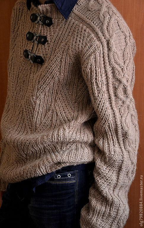 """Для мужчин, ручной работы. Ярмарка Мастеров - ручная работа. Купить Джемпер мужской теплый """" Рустикальный беж"""". Handmade."""