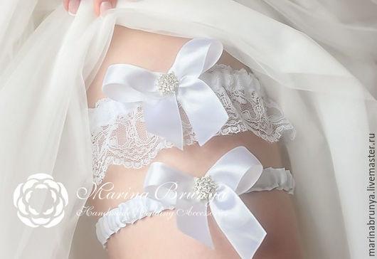 Одежда и аксессуары ручной работы. Ярмарка Мастеров - ручная работа. Купить Подвязки невесты. Handmade. Белый, подвязка, подвязка на свадьбу