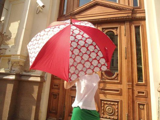 Зонты ручной работы. Ярмарка Мастеров - ручная работа. Купить Зонт Красные розы. Handmade. Ярко-красный, зонт на заказ